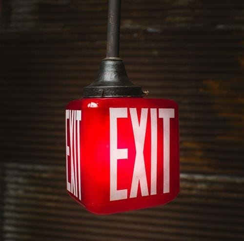 reclaimed red exit sign lighting fixture