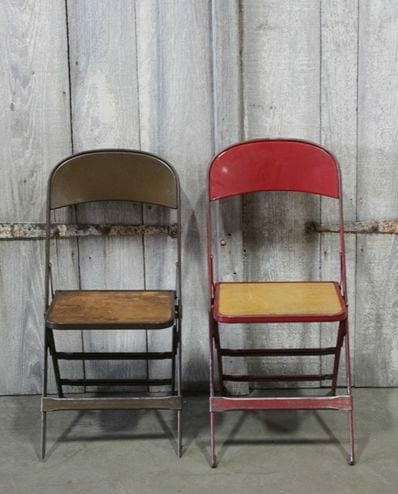 vintage folding metal chairs