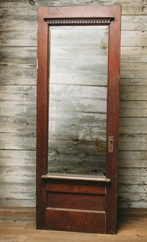 antique mirrored door