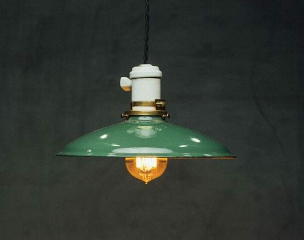 small green industrial pendant