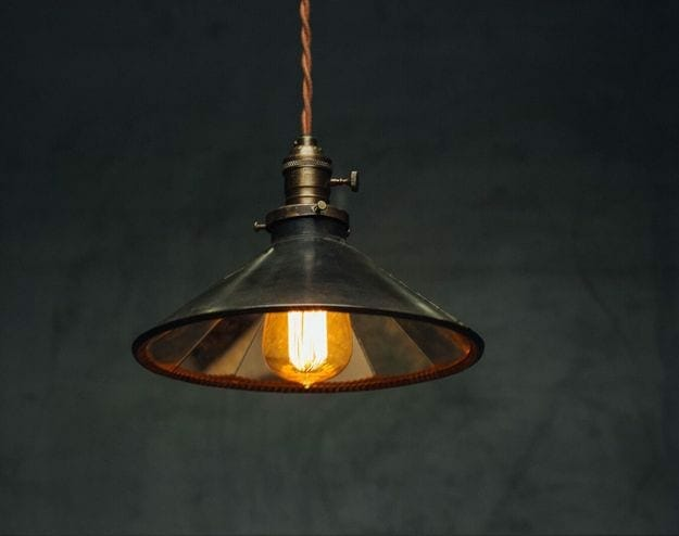 vintage tin reflector pendant light