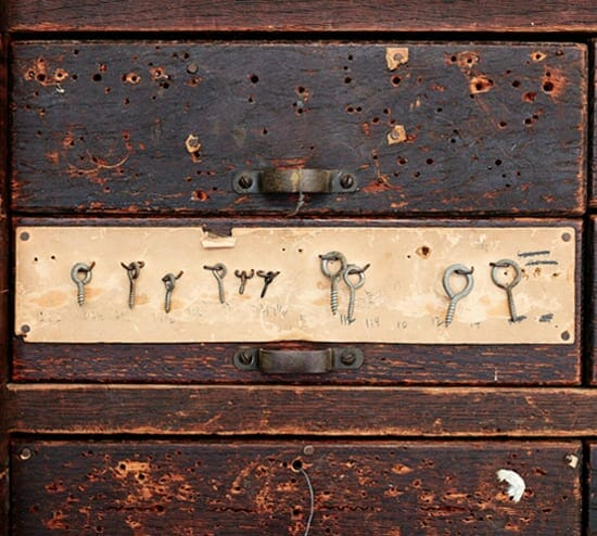 vintage hardware cabinet with small drawers