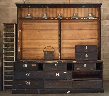 hardware cabinet with numbered drawers