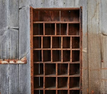 vintage hardware store cubby