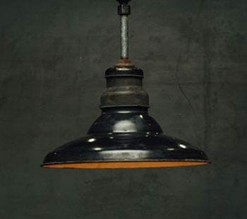 black enamel industrial pendant