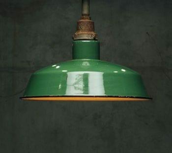 green enamel industrial pendant