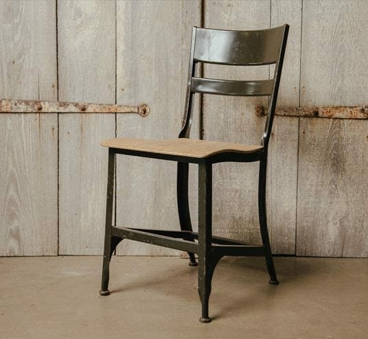 vintage wood and metal chair