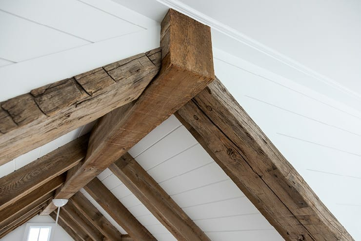 hand hewn reclaimed beams