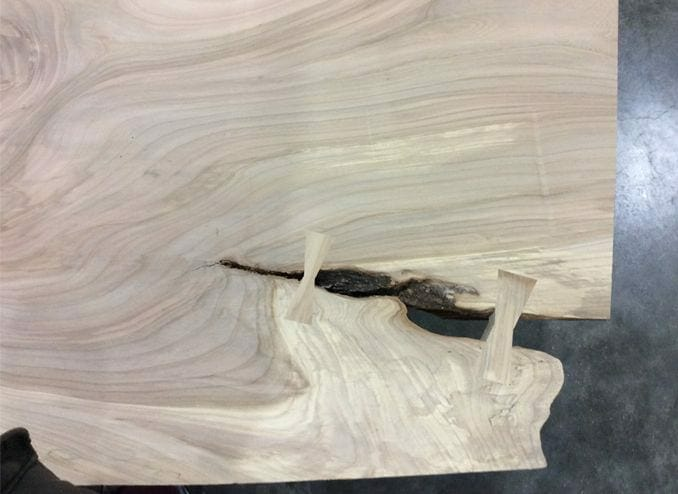 american elm live edge slab detail