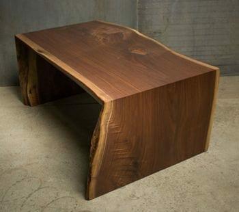 live edge waterfall coffee table