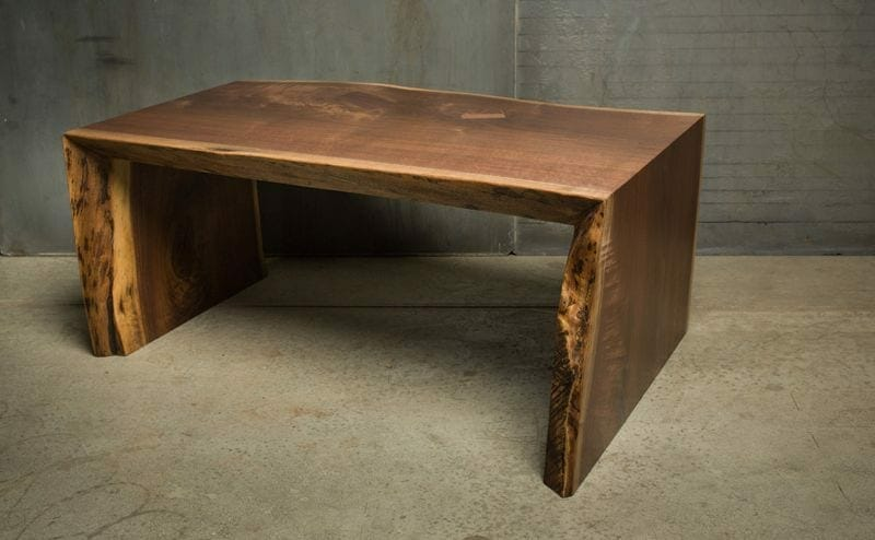 live edge waterfall coffee table