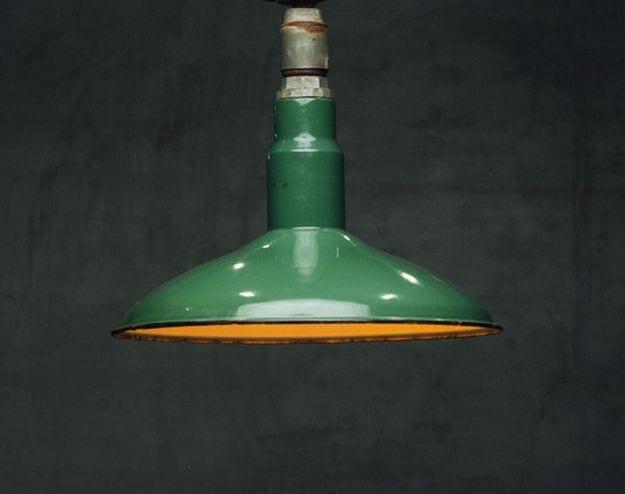 green industrial pendant
