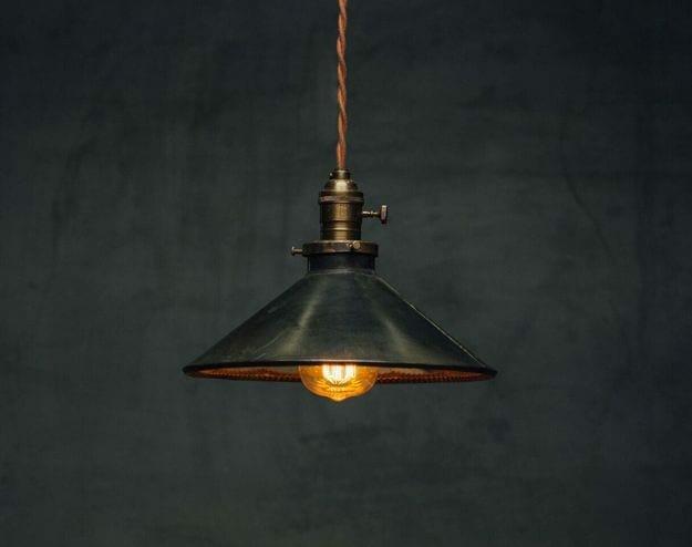 vintage tin reflector pendant light