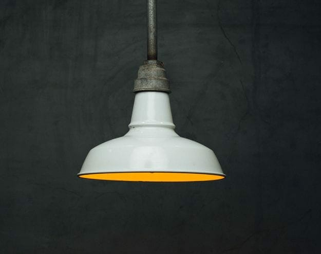 white enamel industrial light