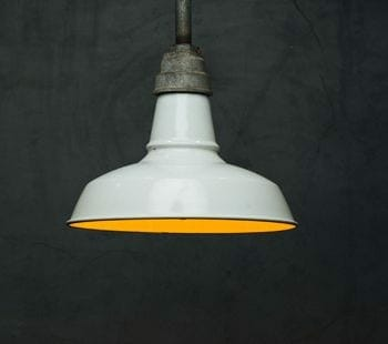 white enamel industrial light