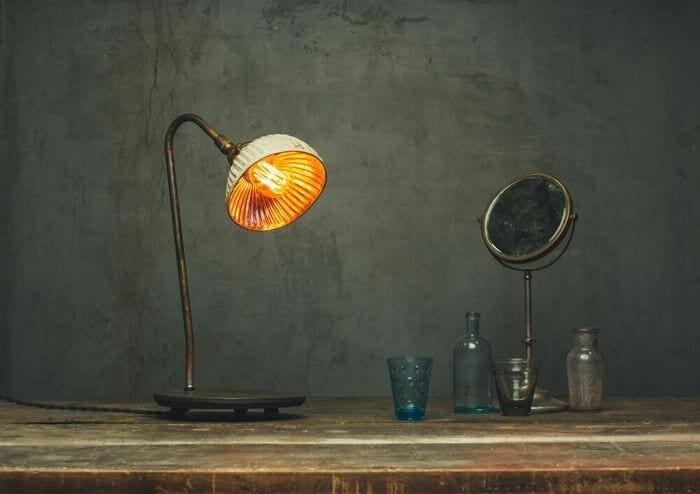 cream and rose mercury glass x-ray reflector shade desk lamp