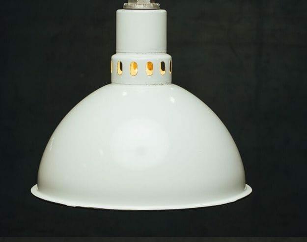 deep bowl white industrial enamel light