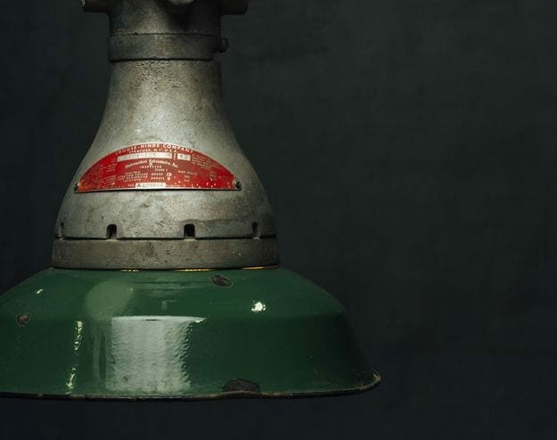 green industrial canister light