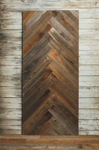 reclaimed redwood herringbone barn door