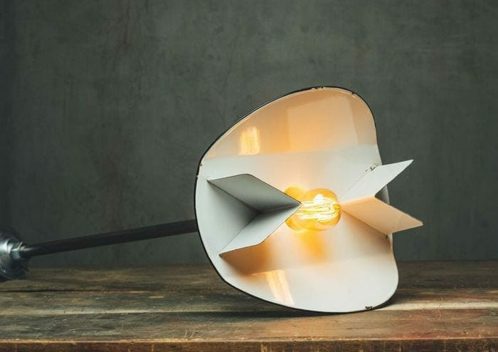 vintage white enamel angled reflector light