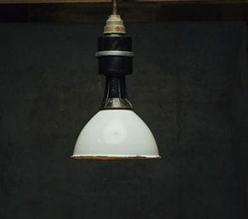 vintage white enamel industrial canister light