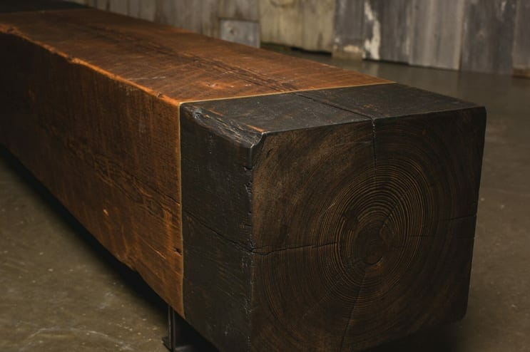 reclaimed heart pine bench