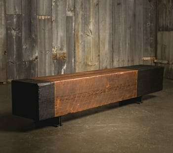 reclaimed heart pine bench