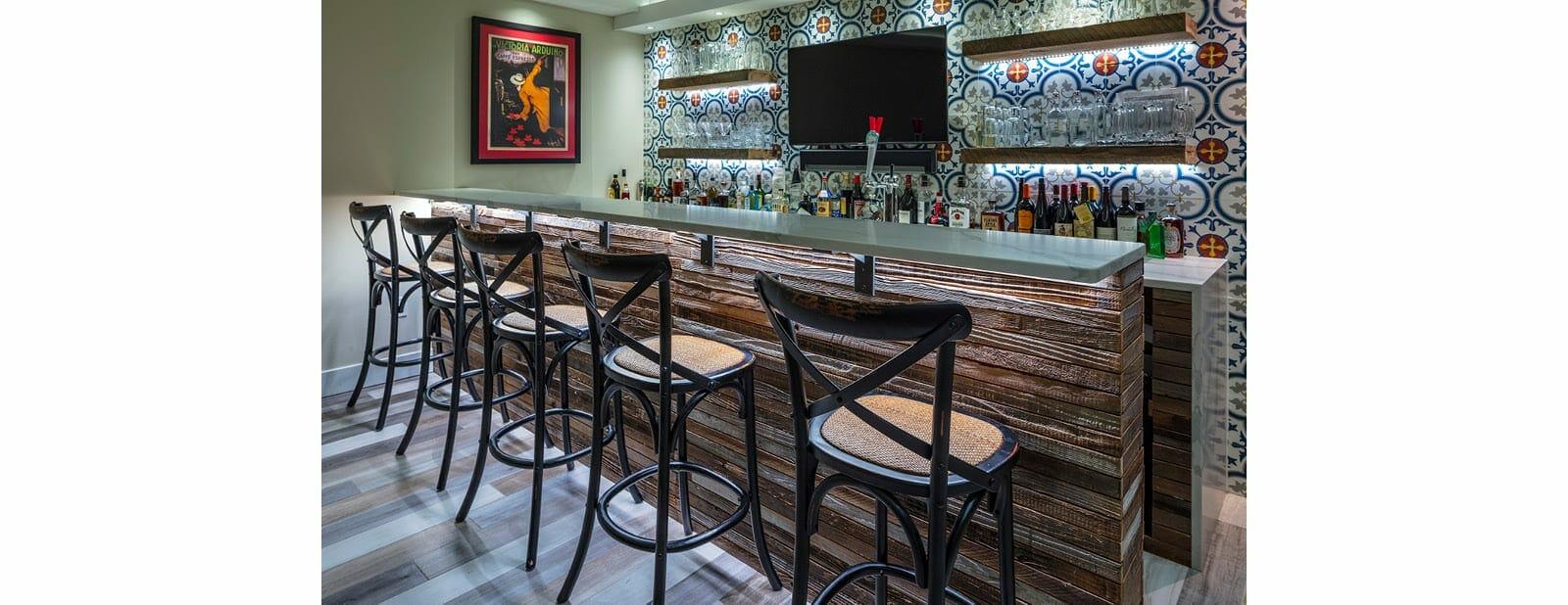 berwyn residence redwood paneled bar