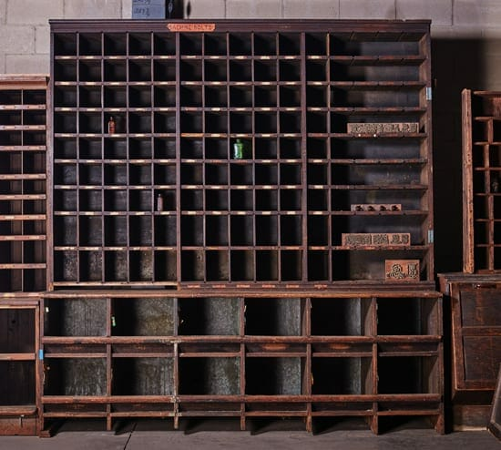 vintage hardware cubby cabinet