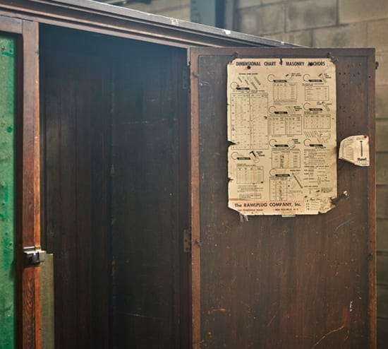 vintage hardware cabinet with felt doors