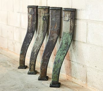 vintage green cast iron bases