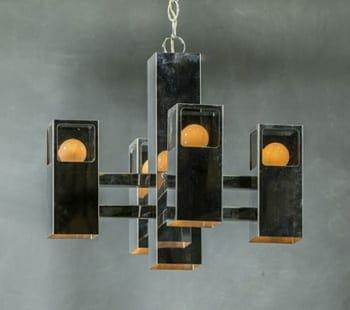 gaetano sciolari midcentury modern cubic chandelier