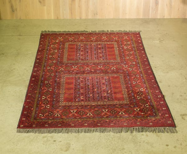 Vintage Oriental Rug With A Intricate Pattern Of Geometric