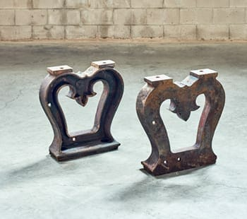 fleur de lis industrial cast iron base
