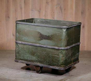 green vintage industrial storage bin