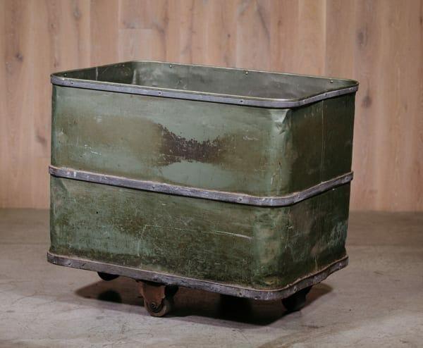 green vintage industrial storage bin