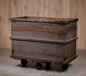 grey industrial metal cart