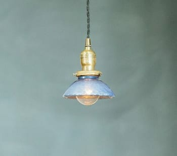 Blue Quilted Pendant Light