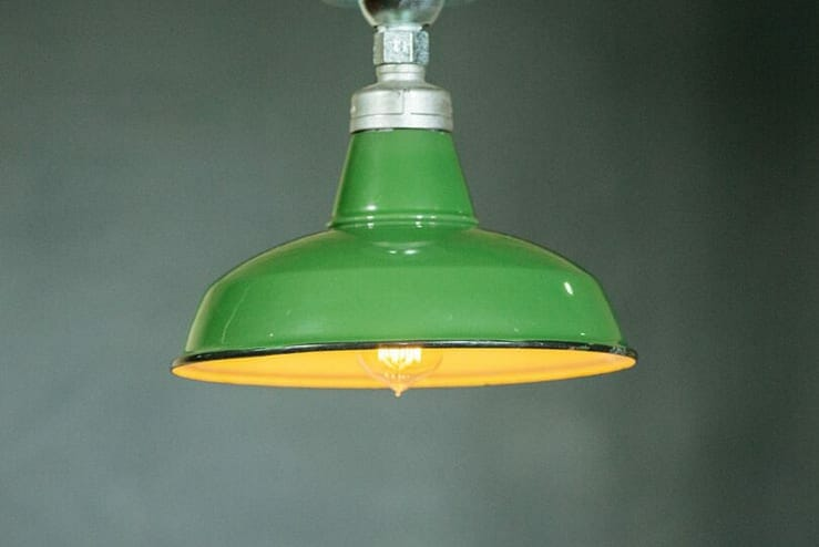 Green Enamel Industrial Pendant Light