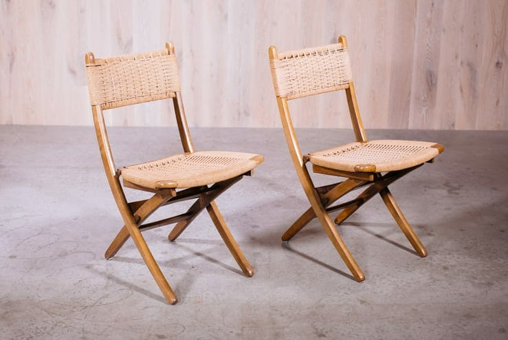 Hans Wegner Folding Rush Chairs ...