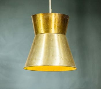 midcentury modern spun aluminum cone light