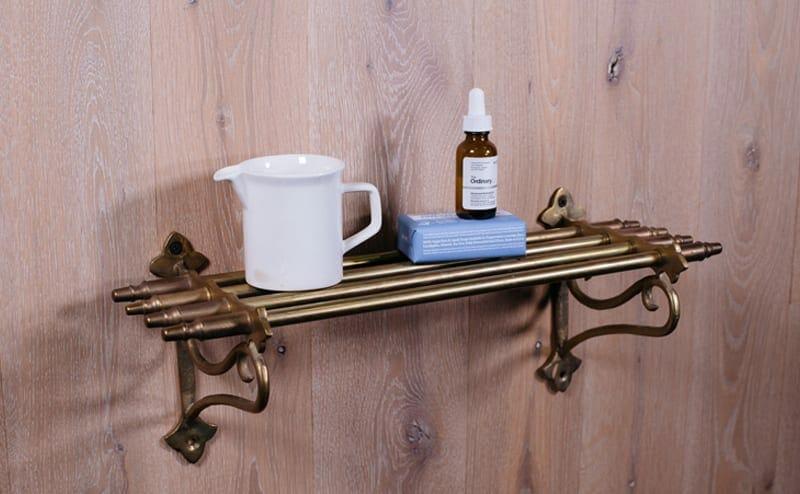 small brass vintage towel rack