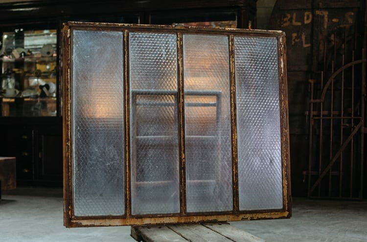 Four Pane Pebbled Chicken Wire Glass Factory Window