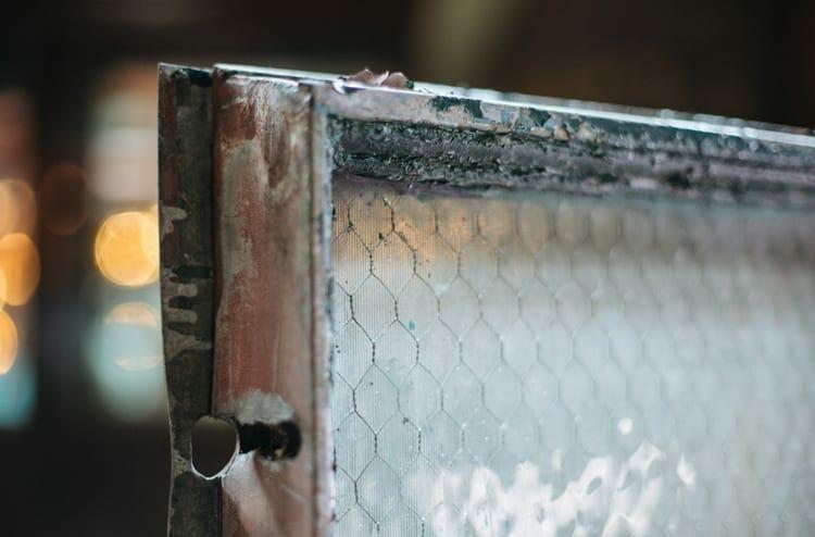 striated chicken wire glass factory window