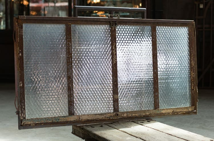 four-pane pebbled chicken wire glass factory window