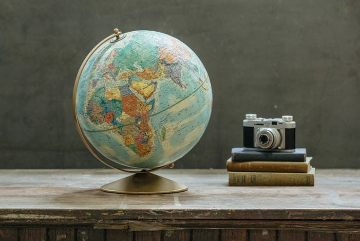 vintage raised relief globe