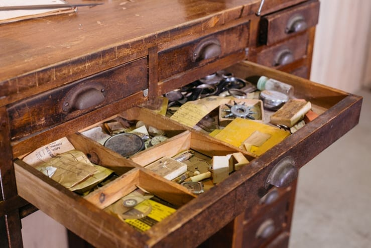 Antique Watchmaker S Workbench Filled With Tools