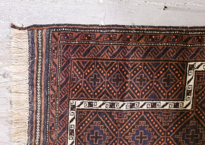 cross and diamond vintage tribal rug