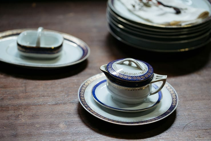 Blue And Gold Vintage Dish Set