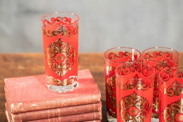 gilded vintage highball glasses